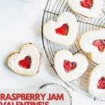 Pinterest Pin showing heart shaped cookies - perfect for a Valentine's Day cookie idea.