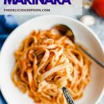 Pinterest pin showing a bowl of pasta made with an homemade marinara sauce recipe