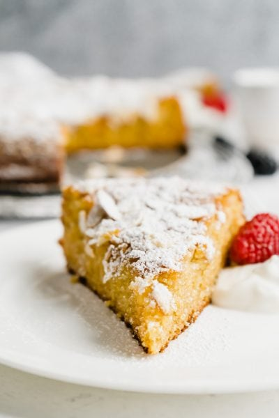 A head on shot of a Spanish Almond Cake slice