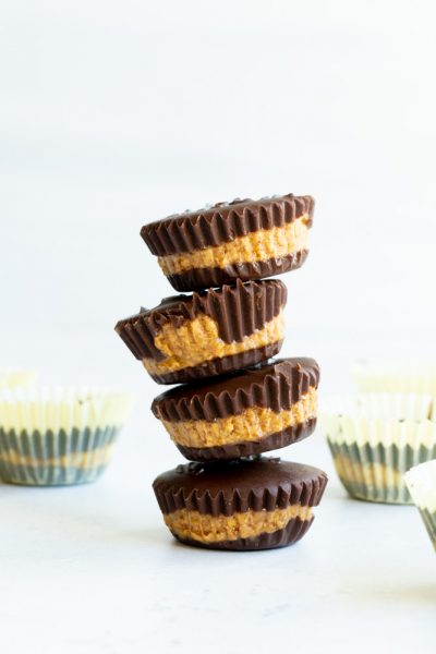 A tower of dark chocolate bites made with almond butter