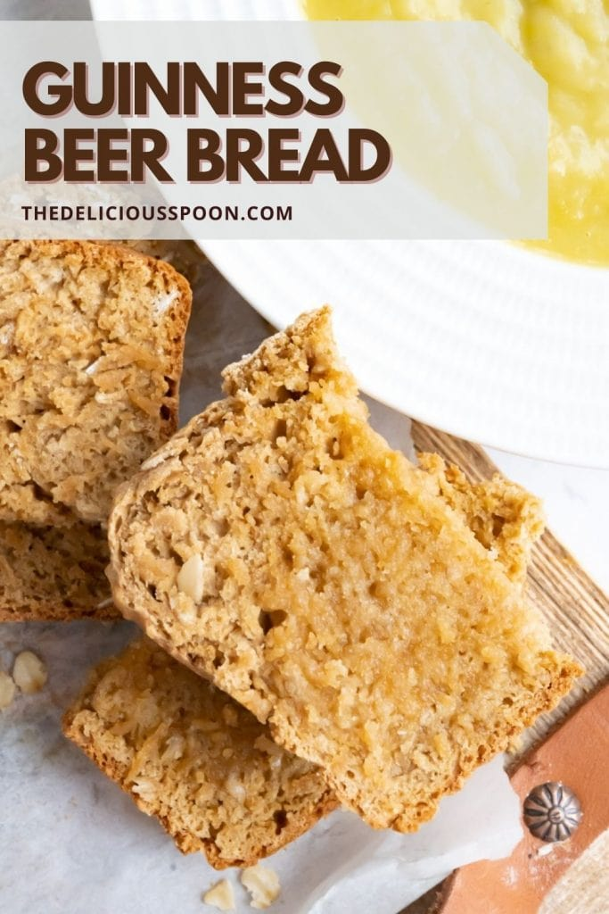 Beer bread made with molasses pinterest pin.