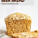 A pinterest pin showing a beer bread recipe made with molasses and oats.