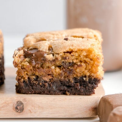 Two layer cookie brownie bar close up