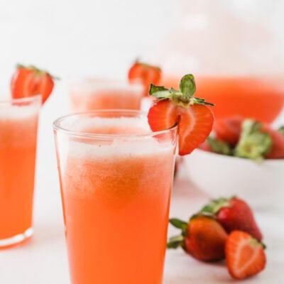A glass of strawberry lemonade