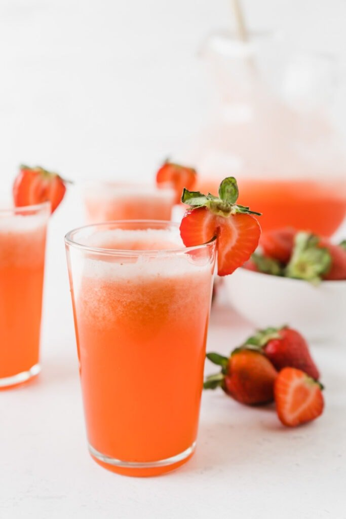 A glass of strawberry lemonade