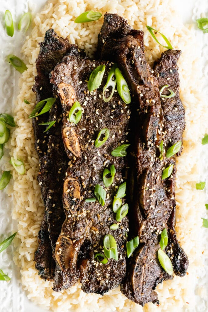 Flanken short ribs done kalbi style on a bed of rice