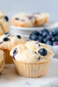 A closeup of a gluten-free blueberry muffin recipe.