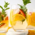 White wine sangria decorated with mint