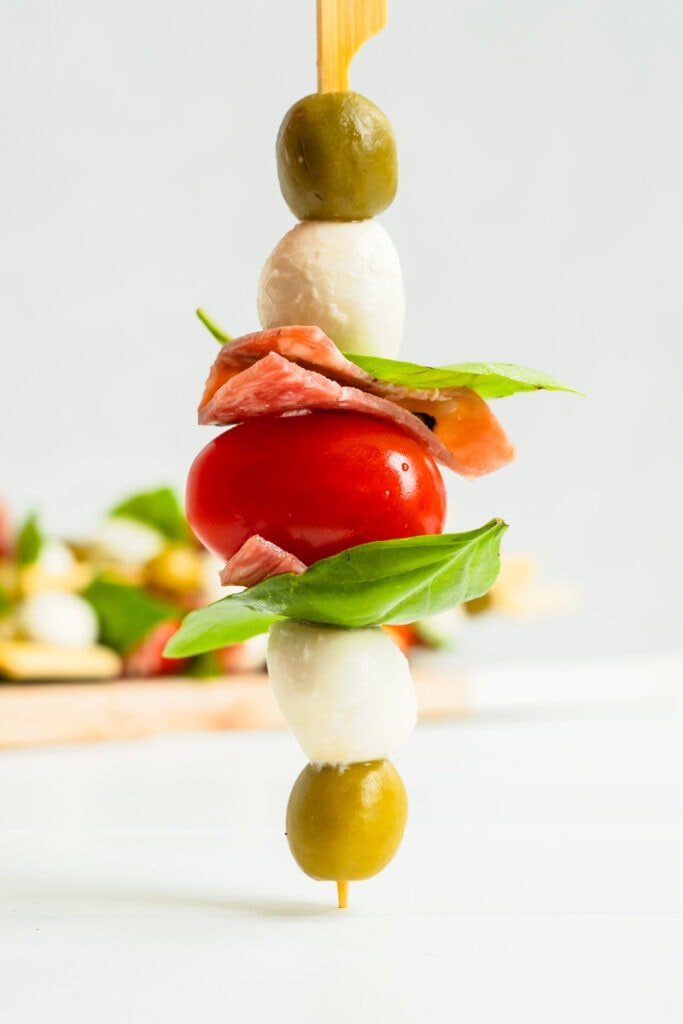 A picture of a single quick and easy appetizer skewer