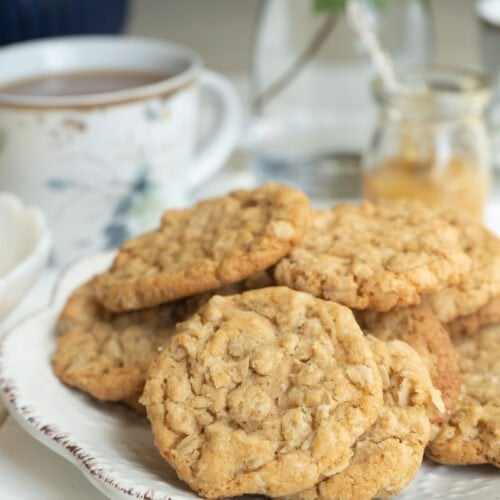 A plate of the best old-fashioned oatmeal cookie recipe