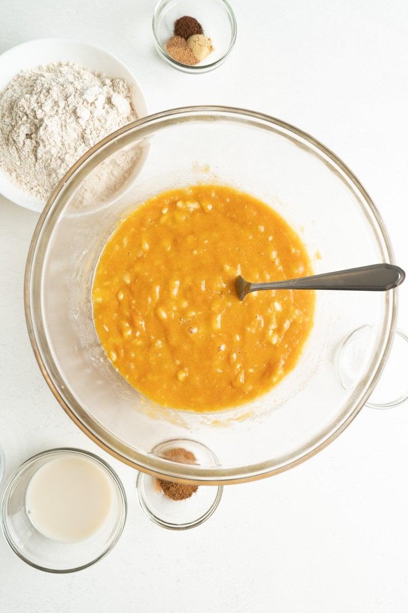 Pumpkin muffin mix in a bowl.